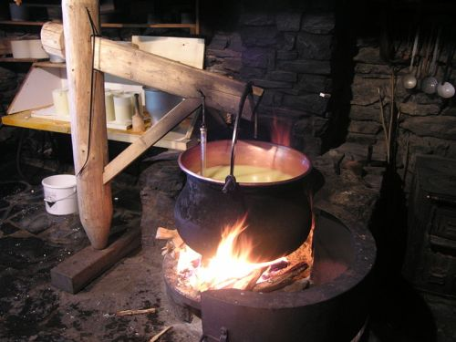 The kettle, the fire, the cheese.